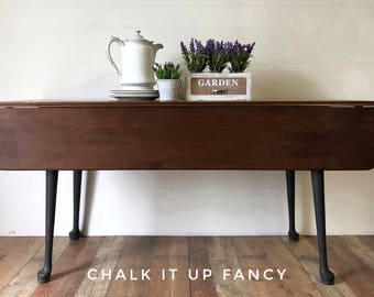 Stunning Drop Leaf Table, Dining Table, Sofa Table, Side Table With Mandala  Stenciling