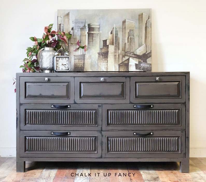 Refinshed Pier 1 Dresser Tv Stand 7 Drawer Entertainment Center Side Board Industrial Style Hand Painted In Pebble Coffee Bar