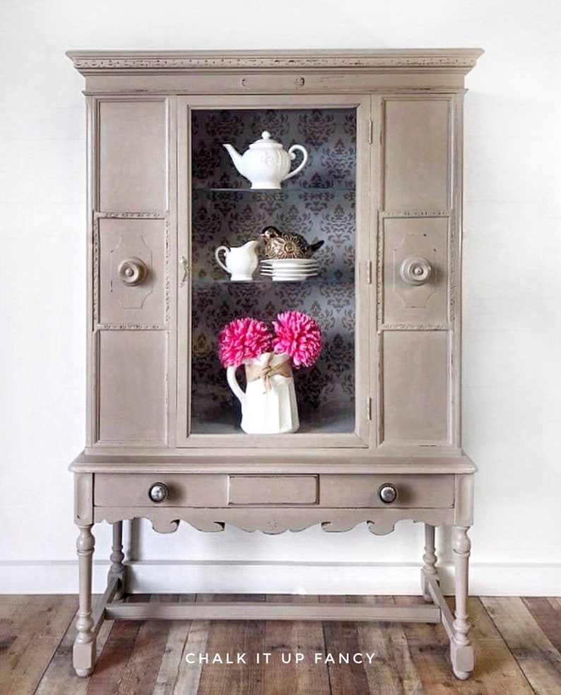 Vintage China Cabinet, Display Cabinet, Hand Painted In Coco, Stenciled  Interior, Adjustable Glass Shelving, Shipping Is Not Free