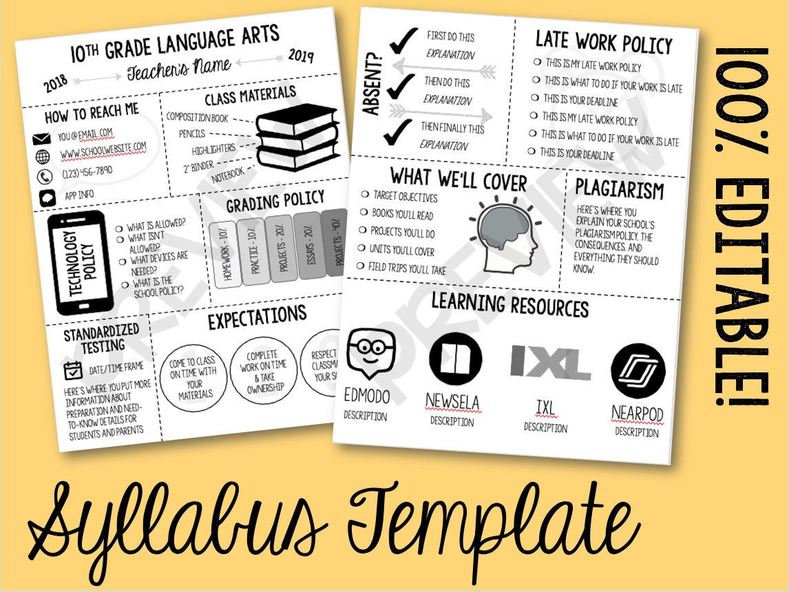 editable class syllabus template  back to school night
