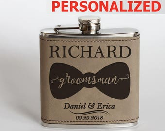 PERSONALIZED-Groomsmen Flask-Leather Groomsmen Flask-Groomsmen Gift-Customized Flask-Personalized Flask-Engraved Leather Flask
