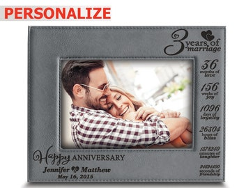 PERSONALIZED- 3 Years of marriage -Years,Months,Weeks...-3rd anniversary gifts-3rd anniversary leather gifts-Engraved Leather Picture Frame