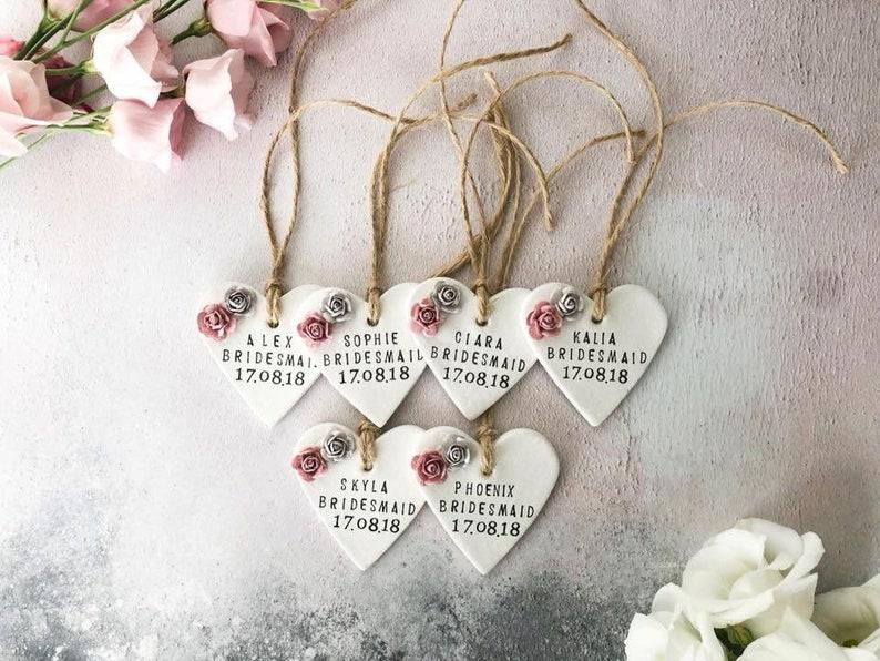 Personalised Clay Keepsake Unique Bridesmaid Gift