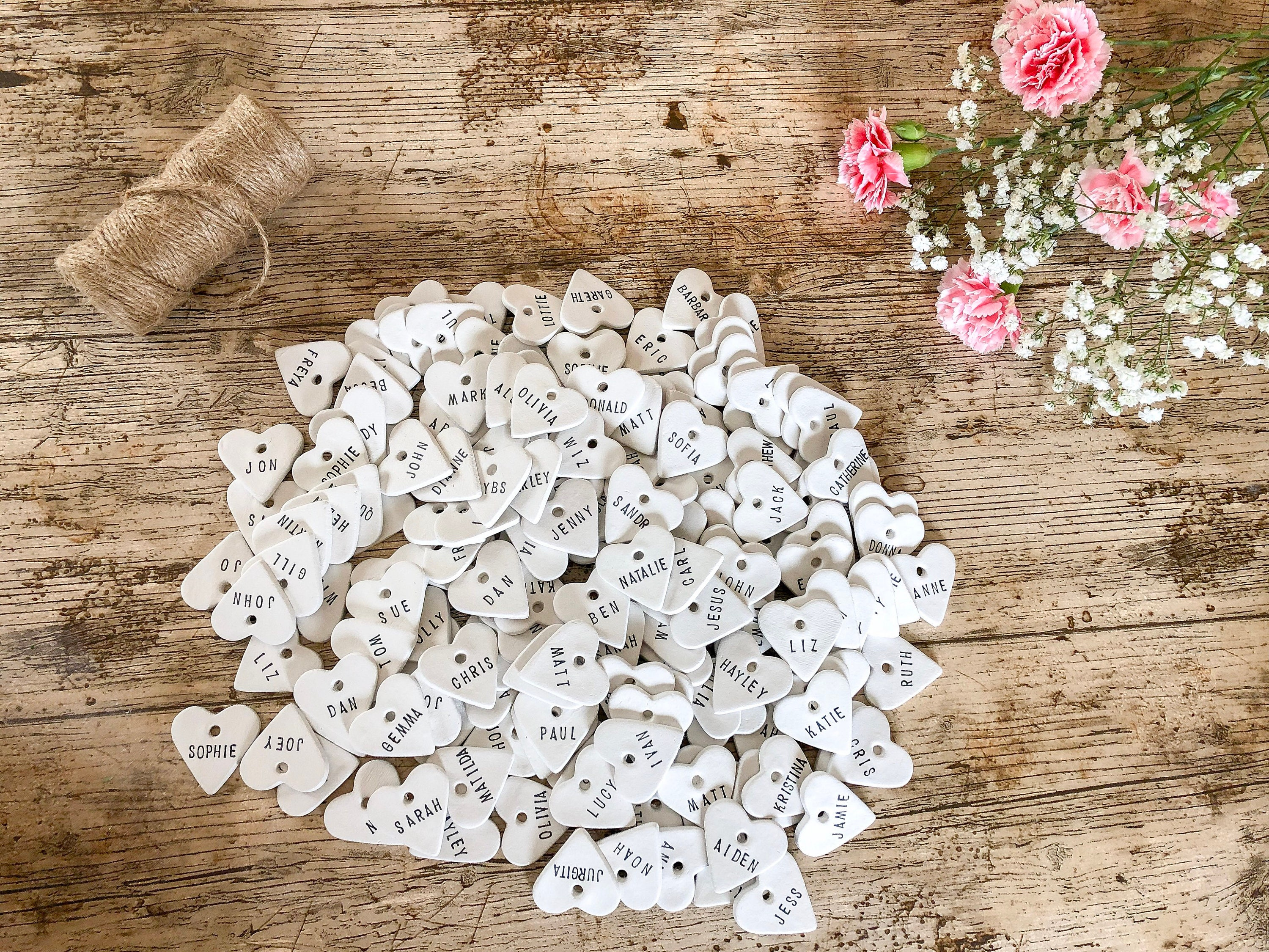 Personalised Clay Heart Place Tags, Wedding Favour/Favor Tags ...