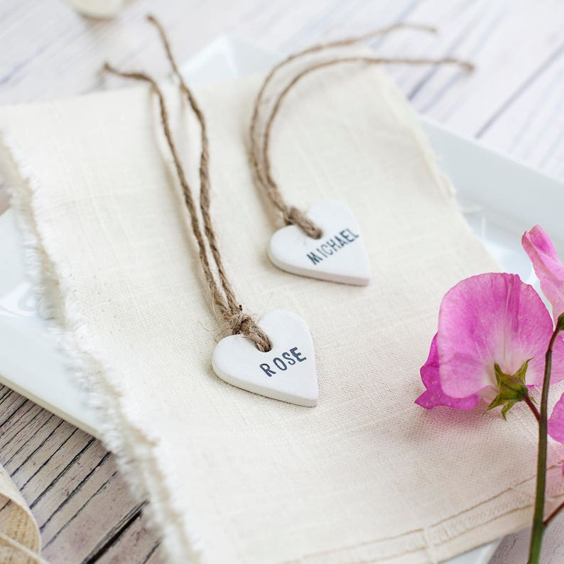Personalised Clay Heart Place Tags Wedding Favour/Favor Tags image 0