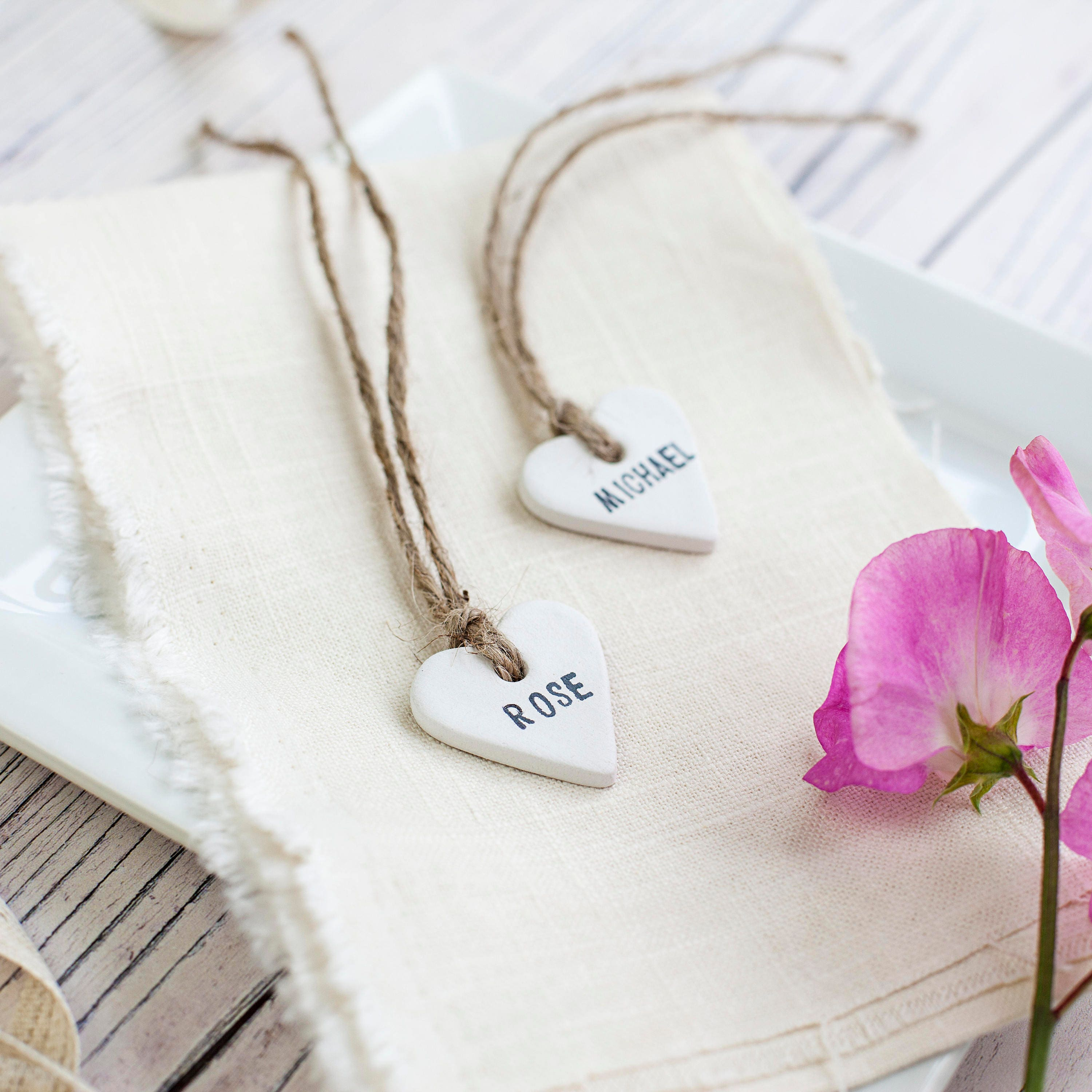 100 Personalised Clay Ceramic Heart Place, Favour/Favor Tags ...