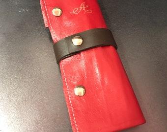 Custom handmade leather pen roll for dip pen