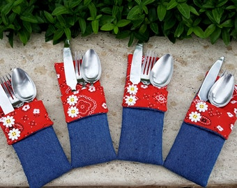 Country Cookout Utensil Holders - Set of 4