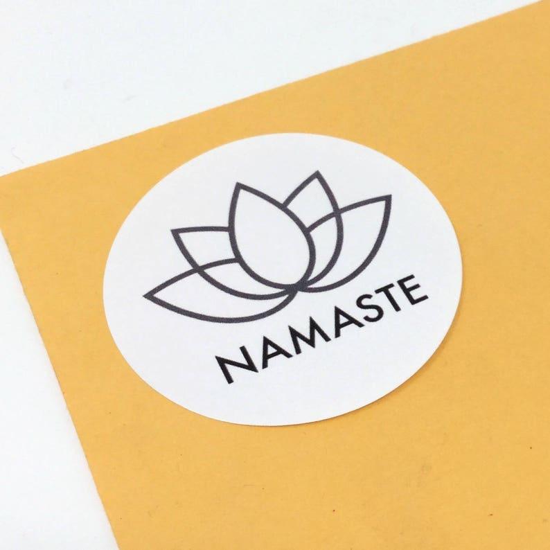 lotus seal round lotus sticker 2 50 mm Namaste stickers packaging sticker namaste label namaste seals