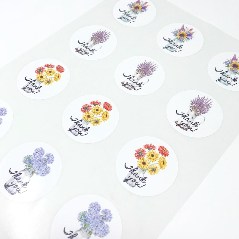 packaging sticker round thank you Botanical Thank You stickers customer thank you sticker floral sticker thank you labels etsy sellers
