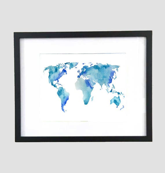 Blue watercolor world map print travel art world map etsy image 0 gumiabroncs Images