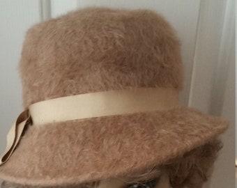 0e87e513eda Vintage Merrimac Merri Soie Tan Brushed Wool Bucket Hat