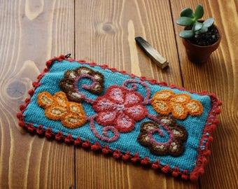 SALE Artisan Woven Floral Zipper Pouch - Blue