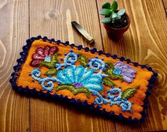 SALE-Artisan Woven Floral Zipper Pouch- Orange