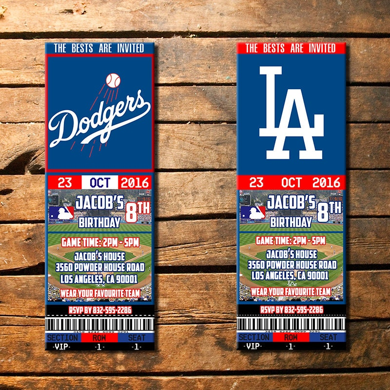 los angeles dodgers invitation la dodgers party invitations etsy