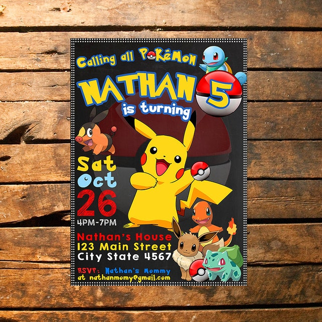 Pokemon Invitation Birthday Invitations Invite Go
