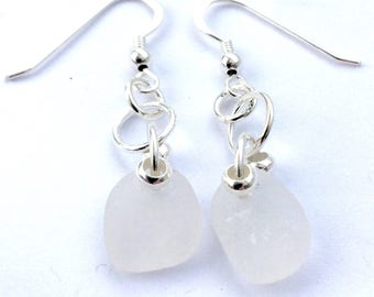 Sea Glass Earrings, Sterling Silver Earrings,Seaglass Jewelry,Genuine English Seaglass, Handmade Jewelry, Jewellery,Green Seaglass,Gift Idea