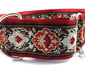 2 inch Red and Black Jacquard Ribbon Martingale Collar