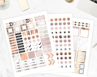 Instant Download Rose Gold Planner Stickers, Marble Planner Stickers, Printable Stickers, Happy Planner, Planner Download, Passion Planner