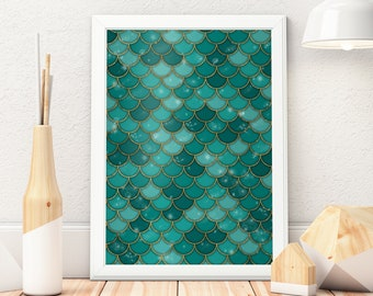 Green Mermaid Poster, Mermaid Wall Art, Mermaid Decor,  Mermaid Scales, Mermaid Wall Decor, Art Print, Poster Print