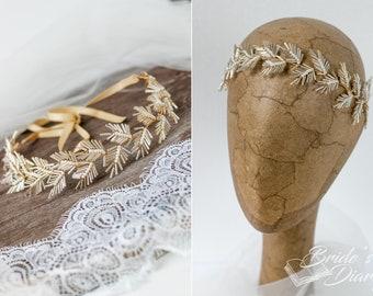 Wedding hair jewelery, bridal hairpiece, Fir-leaves-bridal wreath, bridal hair jewelery gold