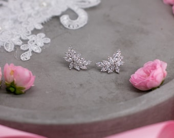 Color choice: Bridal earrings, silver wedding jewelry, bridal sparkling earrings, cubic zirconia earrings, Bridal Jewelry