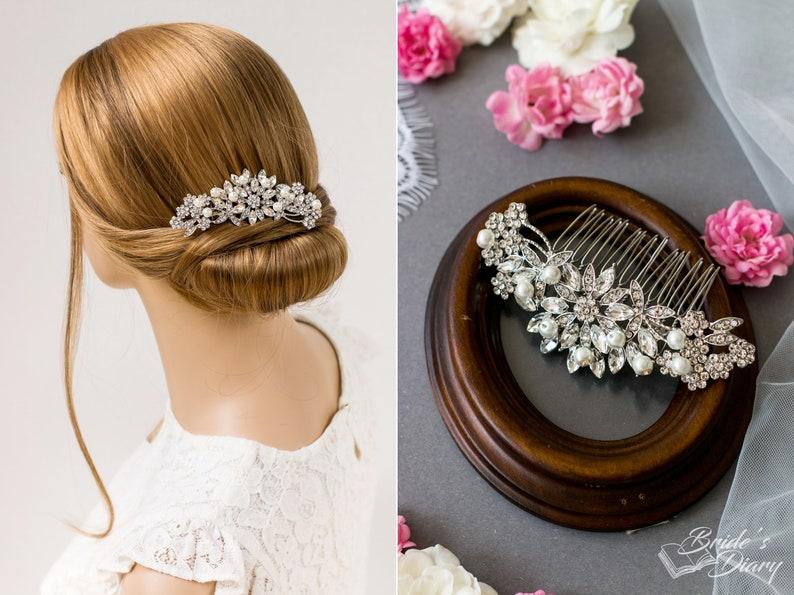 rhinestones bridal hair comb small bridal rosegold hair comb bridal silver accessories Wedding hair jewelry