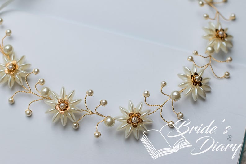 Wedding hair jewelry gold bridal wreath gold leaves with opal pearls