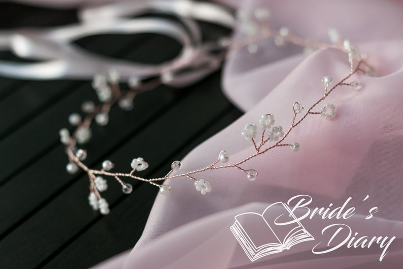 pearls and leaves bridal hairpiece Delicate wedding hair jewelry bridal hair vine in rose gold