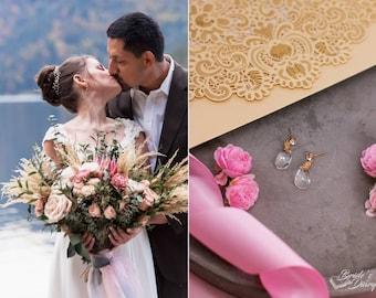 Golden Bridal earrings, wedding jewelry, bridal sparkling earrings, crystals earrings, Bridal Jewelry