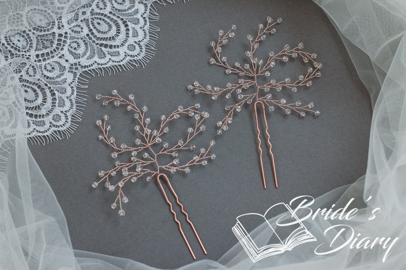 gold hair pins with transparent pearls 1pcs Bridal hair pins Pearl Hair pins
