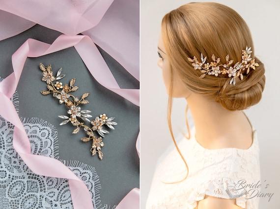 vintage gold hair accessories short bridal hairpiece Vintage floral bridal hair accessories in Gold