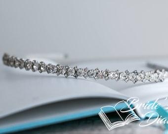 Wedding hair jewelry, rhinestones bridal wreath, bridal hairband with rhinestones