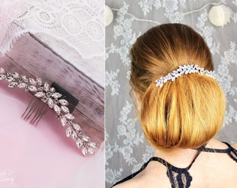Wedding hair jewelry, hair comb with rhinestones,  bridal comb silver