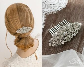 Wedding hair jewelry, rhinestones bridal hair comb, small bridal rosegold hair comb