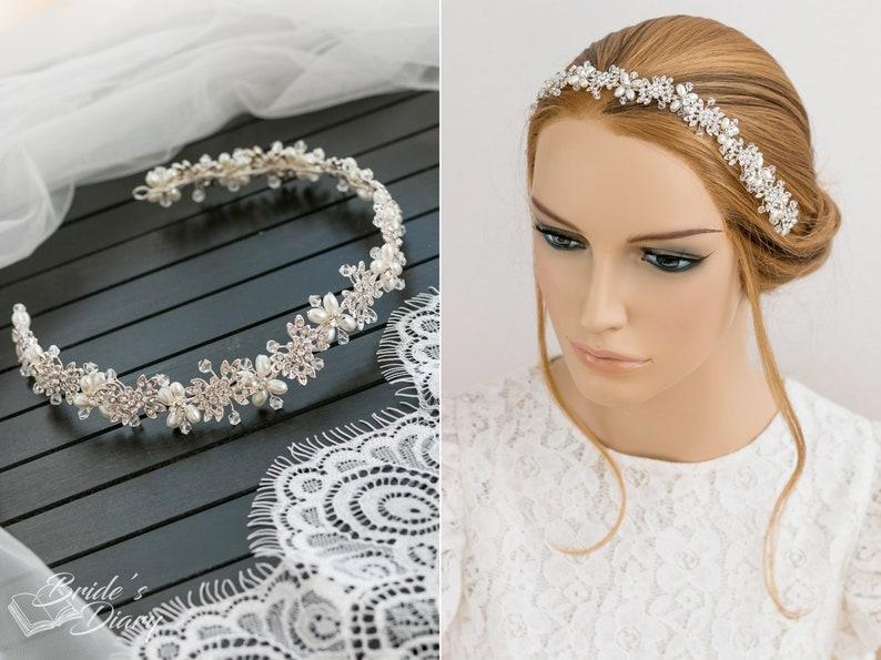 bridal headpiece silver bridal tiara wedding hair vine Wedding rhinestones and pearls hair jewelry bridal diadem