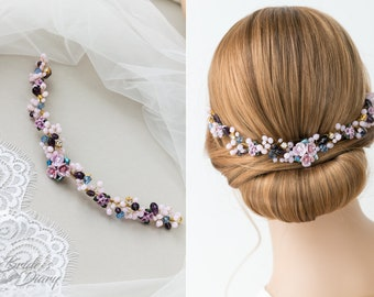 Vintage lilac bridal hair vine, wedding hairpiece, wedding hair vine with purple flowers
