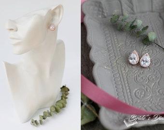 Color Choice: Bridal earrings, wedding jewelry, bridal sparkling earrings, cubic zirconia earrings, Art Deco Bridal Jewelry
