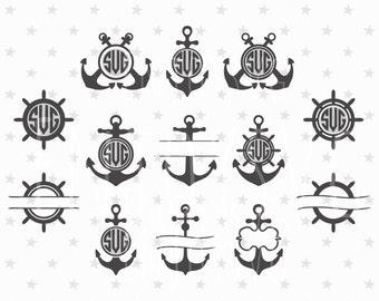 Anchor Monogram Frames Svg File Clipart Nautical DXF Files Vector