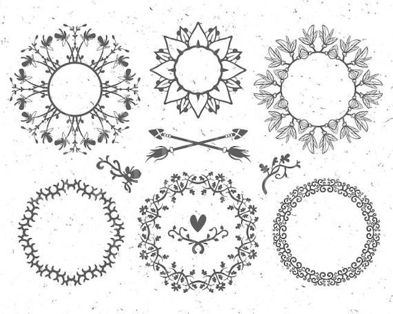 Circle Monogram Frames Svg Flower Monogram Svg Leaf Circle