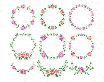 Floral SVG Floral Ornaments svg Floral Clipart svg Rose svg Wedding wreath svg Flower svg Branch svg Leaves Monogram Svg floral wreath svg