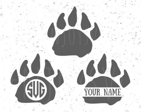 Paw Prints Monogram Svg: Bear Paw Monogram Svg Bear Paw Svg Bear Paws Monogram SVG