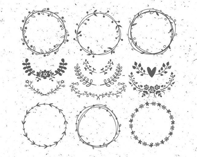 Círculo monograma Marcos svg flor Monogram svg hoja círculo | Etsy