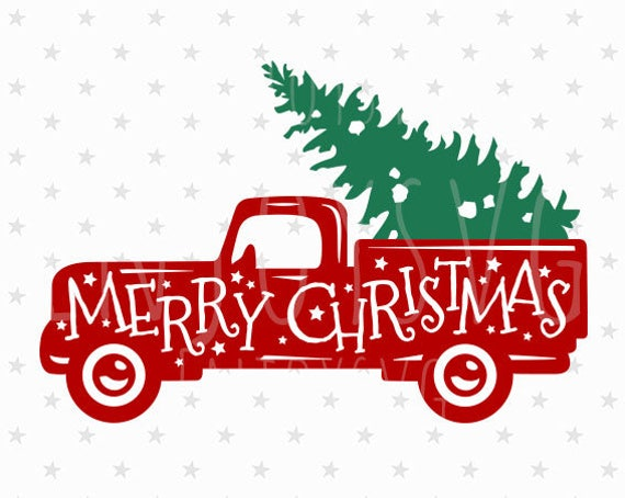 Merry Christmas Red Truck Svg Vintage