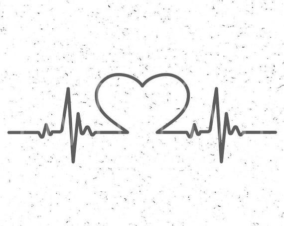 Heartbeat Line Art : Faith svg heartbeat with heart etsy