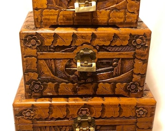 CHINESE Vintage Camphor Hand Carved Panels Asian Wooden Chest Boxes Brass  Closures U0026 Locks Early 20th Century Oriental EXCELLENT Condition