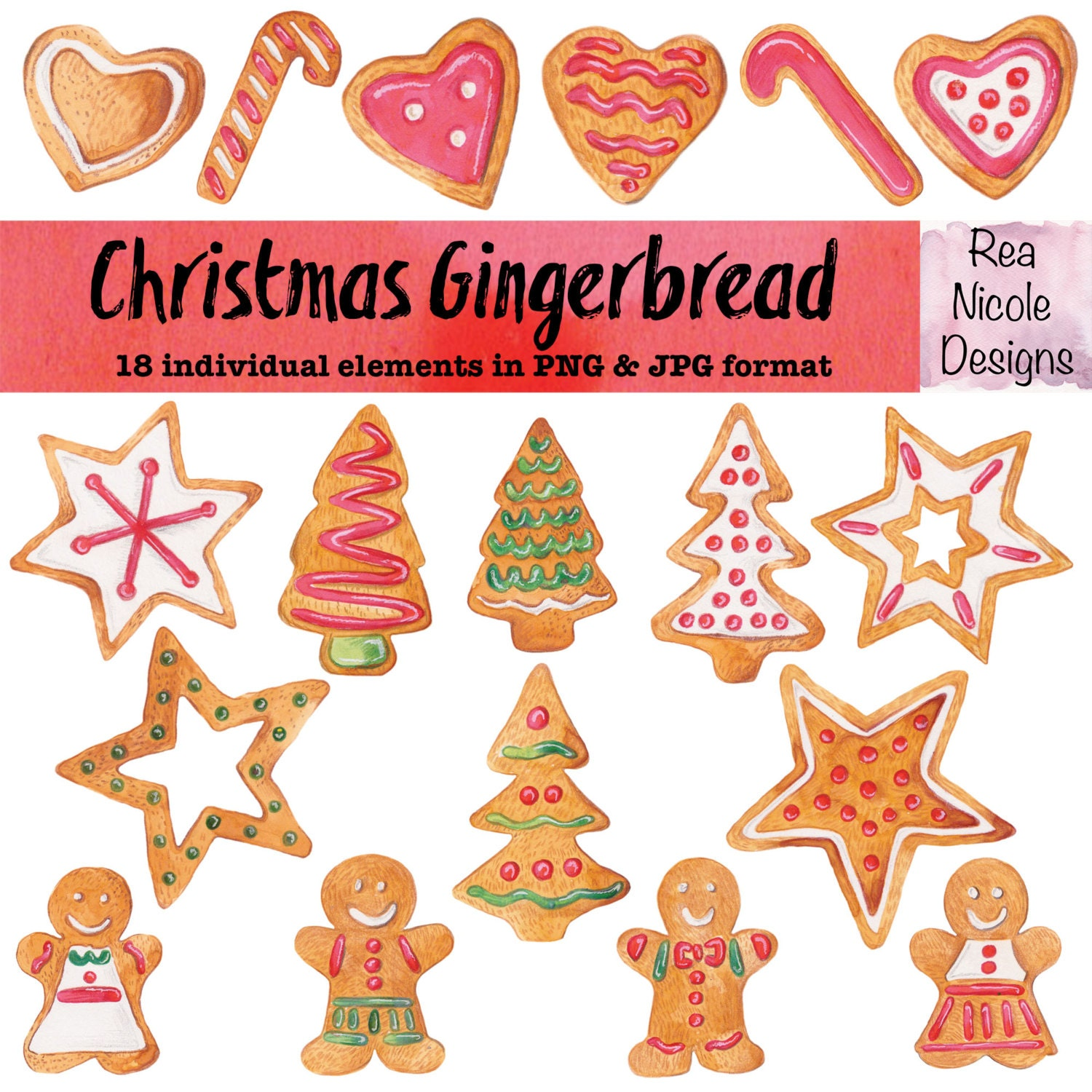 Christmas Gingerbread Clipart handdrawn watercolor clipart