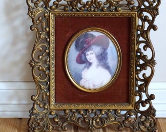 Vintage Ornate Frame--Vintage Ornate Frame with a Cameo Creation Print--Ornate Bronze Frame--Duchess of Devonshire--Downman