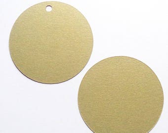 Metallic Gold Cardstock Circles for DIY Wedding Decor Shiny Gold Leaf Paper Circle Tags 12 Sizes Available With Hole or Without - Set of 40