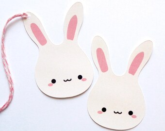 Kawaii Bunny Baby Shower Tags Easter Bunny Tags Die Cut Rabbits Set of 16 Bunny Baby Gift Tags Cute Bunny Favor Tags